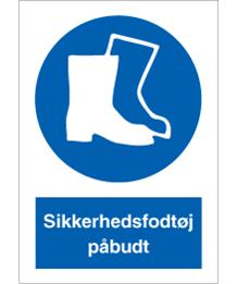 Påbudsskilt - Sikkerhedsfodtøj påbudt - plast 297x210 mm