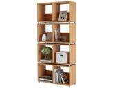 Bücherregal HEIKO 8 Fächer in Buchefarben aus Holz