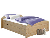 Bett RONJA 160x200 gebeizt geölt mit 1x Bettkasten-Set
