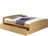 Bett RONJA 180x200 cm gebeizt geölt mit 1x Bettkasten-Set
