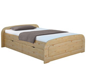 Bett RONJA 180x200 cm gebeiztgeölt mit 2x Bettkasten-Set