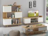 Wohnzimmer-Set ANNE I aus Spanplatte foliert in weiß/eiche