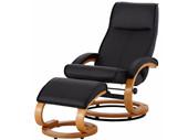 Relaxsessel PAM mit Hocker aus Kunstleder in schwarz
