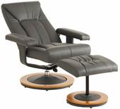 Relaxsessel COLBY mit Hocker aus Kunstleder in grau