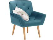 Gepolsterter Sessel SAMMY mit Samtbezug in blau