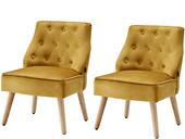2er-Set Sessel EDDA mit Samtbezug in gold, Sitzhöhe 42 cm