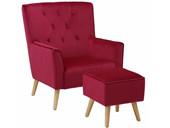 Sessel mit Hocker MICHI aus Samtvelours in rot