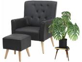 Sessel mit Hocker MICHI mit Relaxfunktion PU in grau