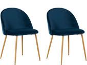 2er-Set Esszimmerstuhl LEA mit Samtveloursbezug in blau