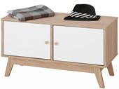 Schuhbank DIDO 2 Türen aus Holzwerkstoff in weiß/eichefarben