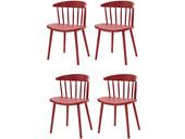 4er-Set Stühle GILL aus Kunststoff in rot