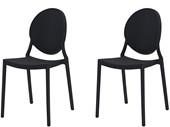 2er-Set Stühle WILMA aus Kunststoff in schwarz