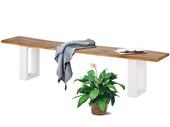 Sitzbank MAIKA Wildeiche mit Metallgestell weiß, 180 cm
