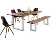 6-tlg. Essgruppe MAIKA Tisch 180 cm, weiß/schwarz