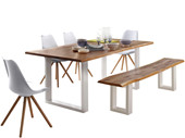 6-tlg. Essgrupe MAIKA Tisch 180 cm, Eiche in weiß/grau