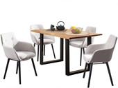 5-tlg. Essgruppe MEI 140cm mit Stühlen in grau