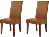 2-er Set Stühle MADRID aus Kunstleder mit Rattan in braun