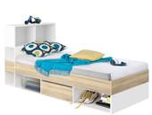 Funktionsbett MOCCHA 1 Schublade in weiß & eichefarben