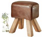 Hocker Bock SAGA aus Leder in braun mit Holzbeinen