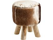 Hocker RAGNA mit Holzbeinen und mit Kuhfell in braun