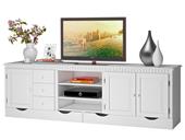 TV Lowboard ODETTE aus Kiefer massiv in weiß lackiert