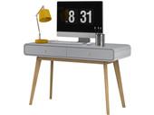 Moderner Schreibtisch CARMEN mit 2 Schubladen, grau