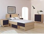 3-tlg. Schlafzimmer-Set CARMEN in schwarz/eiche