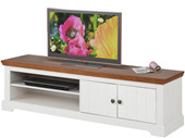 2-trg. TV Lowboard ANTON aus Kiefer in weiß/walnuss, 160 cm