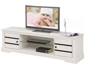 2-trg. TV Lowboard aus Kiefer massiv in weiß