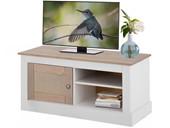 TV-Bank COZETTE mit 1 Tür aus Kiefer in weiß & grau