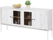 Sideboard FLORA 160 cm Breiteaus Massivholz, creme/weiß