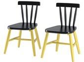 2er Set Stühle TRENDY aus Massivholz in schwarz und gelb