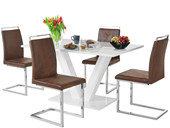 5-tlg. Essgruppe AMELLA in weiß Hochglanz, Stühle in braun