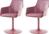 2er Set Stuhl OHIO mit Trompetenfuß PU in rosa