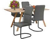 5-tlg. Essgruppe FRED, 4 Stühle in grau, Tischbreite 160 cm