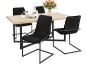 5-tlg. Essgruppe VIC, 4 Stühle in schwarz, Esstisch 160 cm