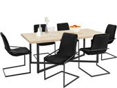 7-tlg. Essgruppe VIC, 6 Stühle in schwarz, Esstisch 200 cm