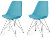 Moderne 2er Stühle CELIA mit türkisem Sitz & Chrom-Gestell