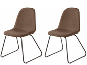 2er Set Freischwinger Stuhl COCO gepolstert in Cappucino