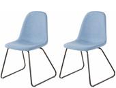 2er Set Freischwinger Stuhl COCO gepolstert in Jeansblau
