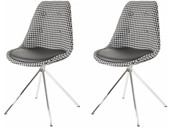 2er Set Stuhl DOVE Microfaser in Retro Design