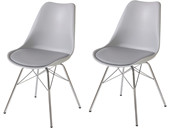 2er-Set Stuhl JERRY Gestell aus Chrom in grau