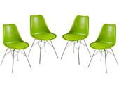 4er-Set Stühle JERRY Gestell aus Chrom in grün