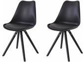 2er Set Stuhl BRITTA aus Kunstleder in schwarz