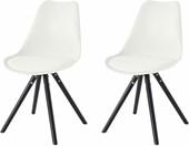 2er Set Stuhl BRITTA aus Kunstleder in weiss Holzbeine