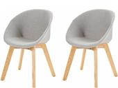 2er-Set Stühle BONO mit Holzbeinen in hellgrau