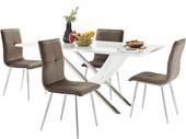 5-tlg. Essgruppe KAYA 160 cm mit 4 Stühlen in anthrazit