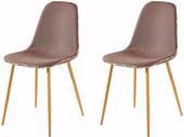 2er Set Stühle ASTARIA in braun Metallbeinen