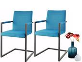 Freischwinger Stühle SERENA aus Stoff in petrol im 2er-Set