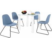 5-tlg. Essgruppe COCO 80 cm mit 4 Stühlen in jeansblau